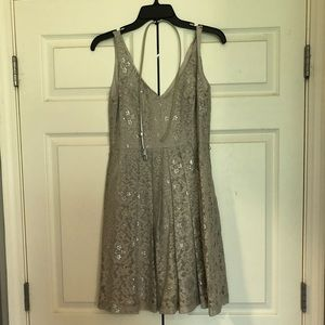 Silver lace dress with belt